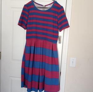 Lularoe Amelia Blue & Burgundy strips dress Sz 2XL